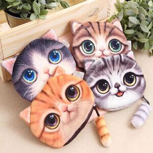 Women Animal 3D Cute Cat Wallet Makeup Bag Coin Change Purse Case Zipper Pocket