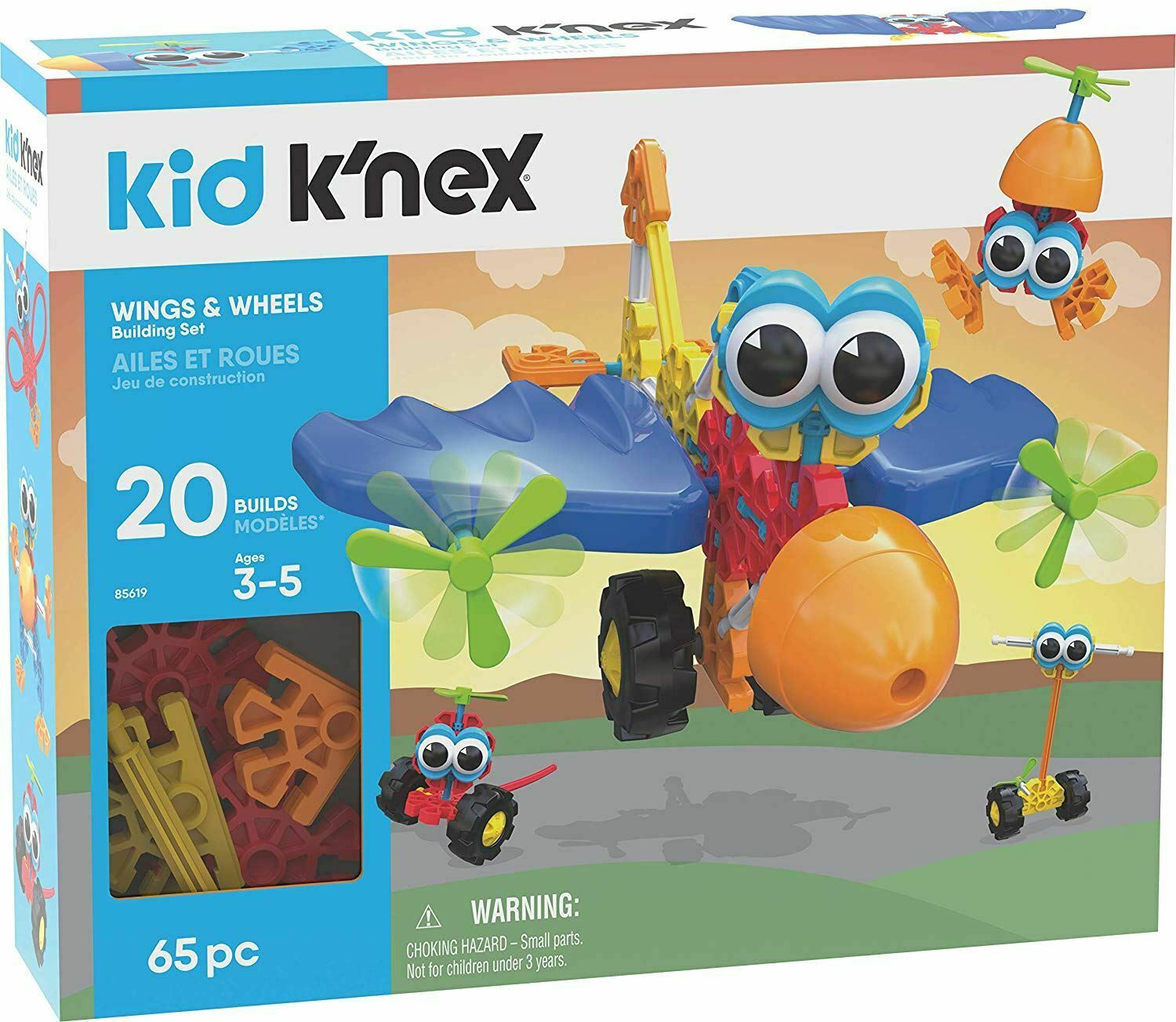 Kid K'nex Wings & Wheels 20 Model Building Set 65 Pieces