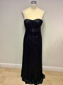 MONSOON-BLACK-WITH-SILVER-GREY-SATIN-LINING-STRAPLESS-MAXI-DRESS-SIZE-10