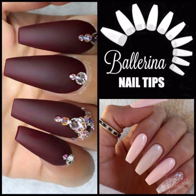 50 X Ballerina Coffin *white* Half Cover Long Nail Tips Fast Ship | eBay