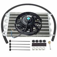 "Aluminum 15-1/2"" Radiator Transmission Oil Cooler & 7"" Cooling Fan Kit Universal"