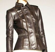 "$3,995 Burberry Prorsum Fringe Trim 12 (38"") Leather Jacket Women Motorcycle NEW"