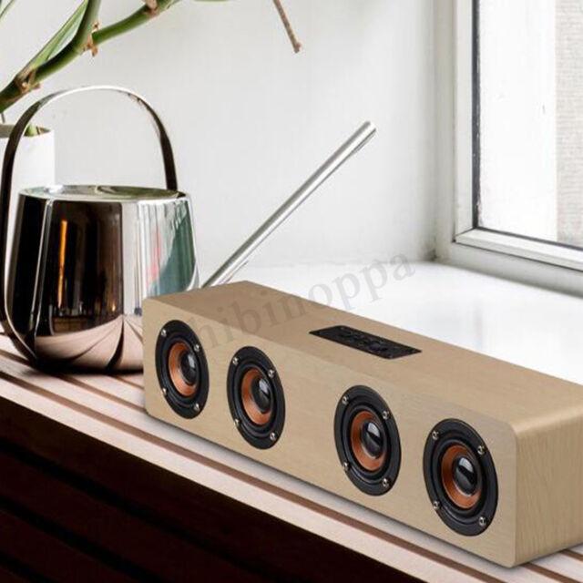 Wireless bluetooth Speaker Hi-Fi 3D Loud Quad  Super Bass Wooden FM Stereo Radio