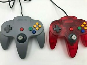 Lot-of-2-Aftermarket-N64-Controllers-Transparent-red-amp-Gray-Nintendo-64