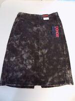 Bongo Black & Gray Distressed Pencil Jean Skirt Slit & Zipper Jr 1 5 7 15