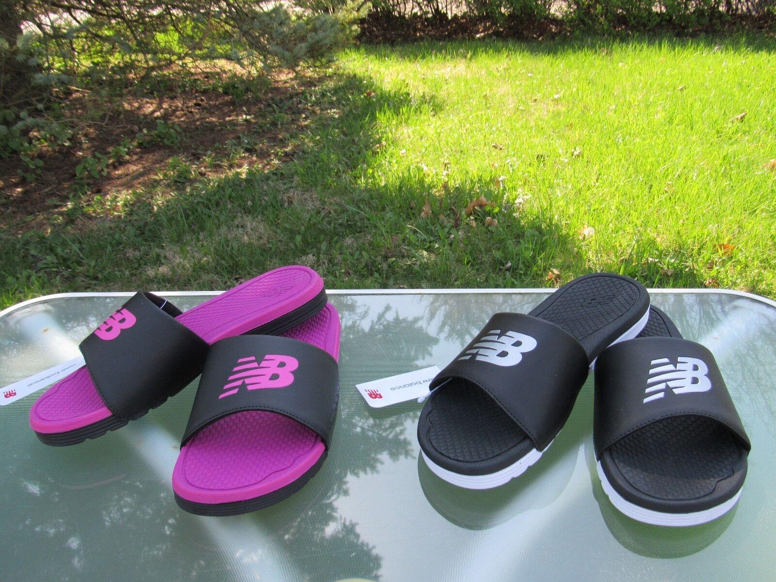New Balance Comfort Lightweight Slides Sandals Black/Pink & Black/White size 9