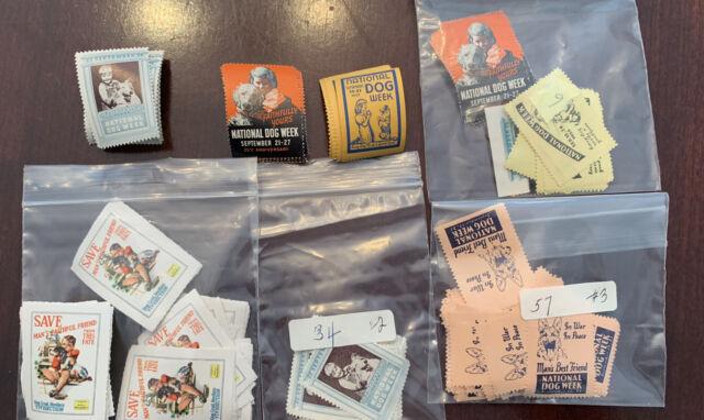 Lot Of Vintage Stamps Cinderella National Dog Week