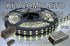 STRISCIA LED DOPPIA FILA SMD5050/600LED BIANCA FREDDA  5mt+DIMMER TELEC+ALIMENT