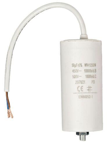 //-5/%  450V CONDENSATEUR MOTEUR ELECTRIQUE 50μF 50uF CABLE NORME EN60252 NEUF