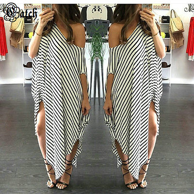 Women Plus Size Dress Sexy Off Shoulder Stripe Loose Casual Party Maxi Dress