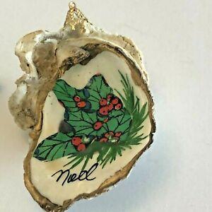 Oyster-Shell-034-Noel-034-Decopauge-Christmas-Ornament-Holly-Berries-1980-039-s-Vintage