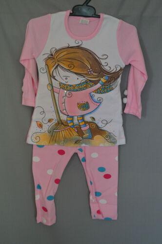 98 Schlafanzug 2 Tlg Pyjama Mädchen Motiv Rot oder RosaGr 92 104 110
