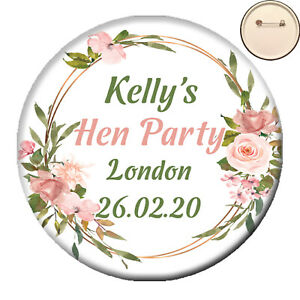 Personalised GLITZY PIN BADGE Button Hen Party Night Do 58mm