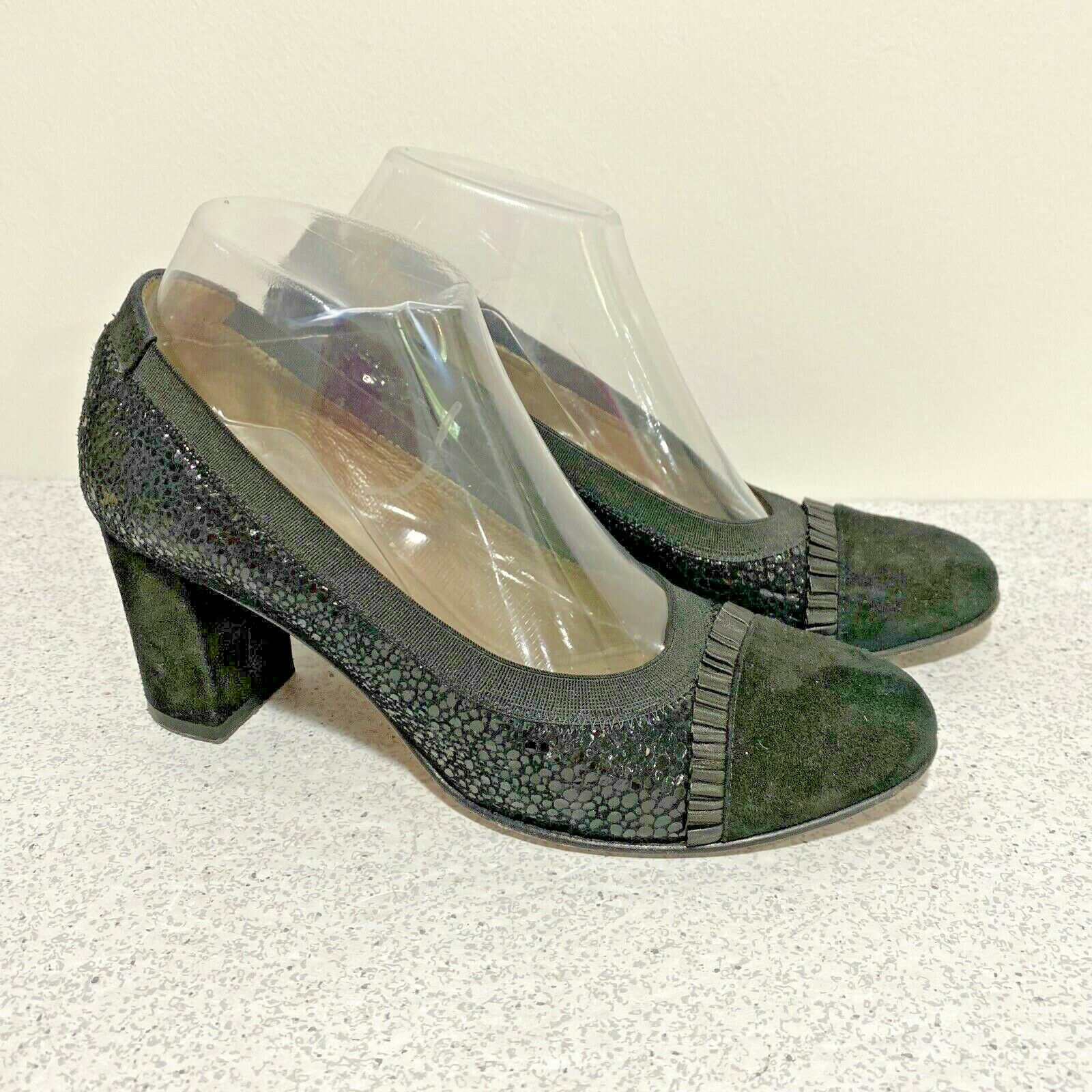 Anyi Lu Black Suede High Heel Pumps Shoes Ladies EU Size 38.5 Made in Italy