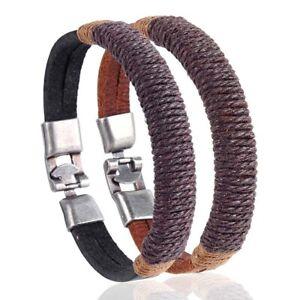 New-Surfer-Men-039-s-Vintage-Hemp-Wrap-Leather-Wristband-Bracelet-Black-Brown