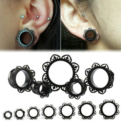 Pair Stainless Steel Black Flower Ear Gauges Flare Ear Plugs Flesh Tunnel Ebay