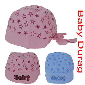 NEW-BORN-BABY-KIDS-HAT-COTTON-DURAG-STAR-HEAD-WRAP-SCARF-GIRL-BOY-PINK-OR-BLUE
