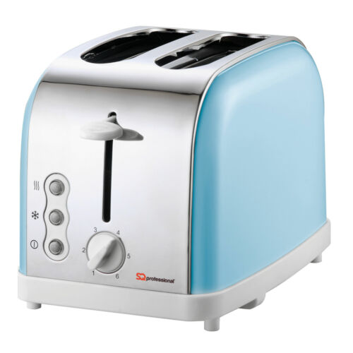2 Slice Slot Toaster Wide Fast Quick Toast Reheat Defrost Crumb Tray Light Blue