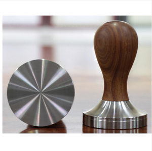 Espresso-Coffee-Tamper-Wooden-58mm-Stainless-Steel-Timber-Handle-Accessory-Gear