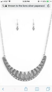 Fashion Jewelry Jewelry Sets Paparazzi/ Thrown To The Lions Necklace Set Nwt Silver