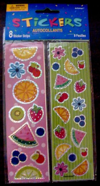 NIP NEW VINTAGE AMSCAN FRUIT AUTOCOLLANT STICKER SHEET STRIP SCRAPBOOKING CRAFT!