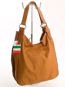 Ital-grosser-Shopper-Beutel-Damen-Henkel-Schulter-Tasche-echt-Leder-Cognac-447C