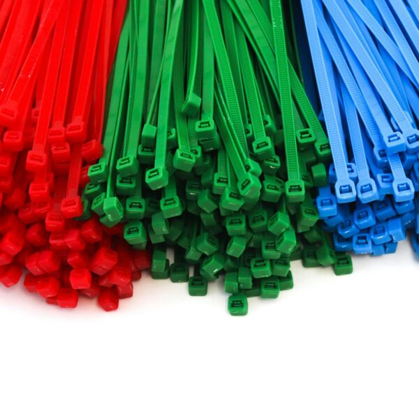 "1500 Heavy Duty 8"" 50 Pound Color Cable Zip Ties Nylon Wrap 500ea Red Green Blue Glanzend"