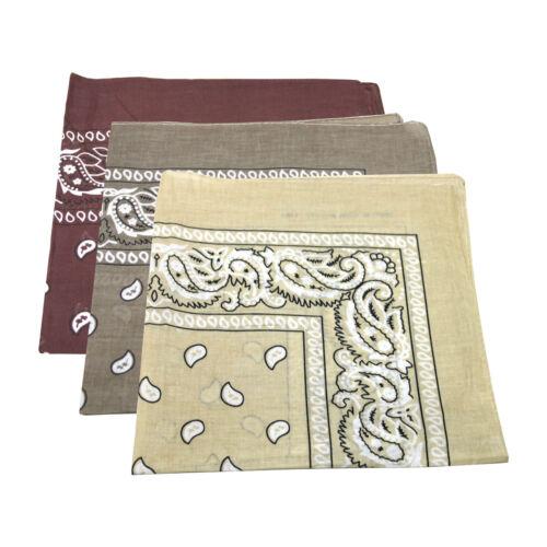 cou 100/% coton 3 x paisley bandana écharpe tête beige, light // dark brown