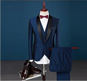 New-Silm-Fit-Peak-Lapel-Best-Man-Suit-Blue-Groomsman-Men-039-s-Wedding-Prom-Suits