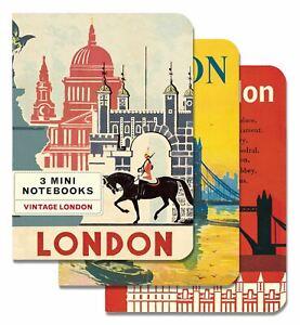 Cavallini-3-Mini-Quaderni-Vintage-Londra-Foderato-Vuoto-amp-Grafico