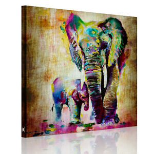 Diy hd leinwand bild bunt elefant leinwandbild wanddeko wandkunst 50cmx50cm ebay - Leinwandbild bunt ...