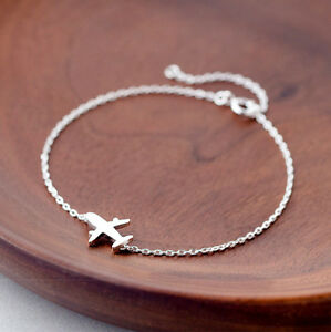 925-Silver-Matte-Aircraft-Airplane-Plane-Chain-bracelet-Adjustable-Charm-Jewelry