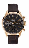 Bulova 64C106 Men's Gemini Swiss Automatic Stainless Steel and Brown Leather Casual Watch