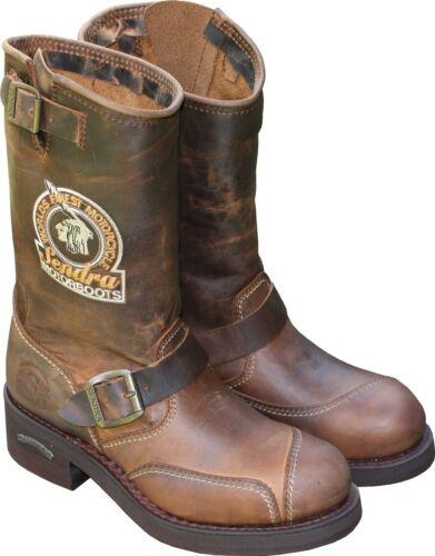 SENDRA Top Biker-BOOTS Stiefel Leder Braun Vintage Motorradstiefel Indian Patch