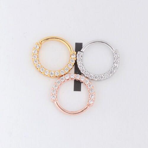 Nose Ring Ear Hoop Helix Cartilage Earring Crystal Stainless Steel Body Piercing