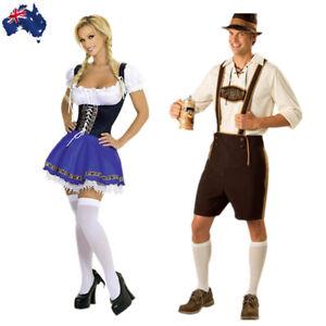 5bc9848dc9b Details about German Mens Bavarian Lederhosen Oktoberfest Beer Girl Costume  Dirndl Dress