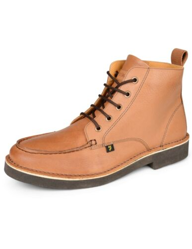 Farah Vintage East Leather Desert Boots Mens Tan Shoes Casual Boot