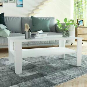vidaXL-Coffee-Table-Chipboard-100x59x42cm-White-Home-Living-Room-Plant-Stand