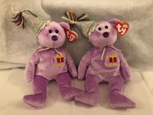 "FEBRUARY The Teddy Birthday Bear w// hat /& tags 9/"" TY Beanie Baby"