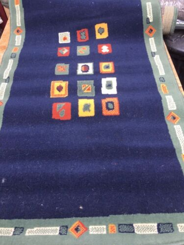 BELGIAN WILTON RUGS BLUE AND GREEN TRADITIONAL DESIGNS BLEACH CLEANABLE #25