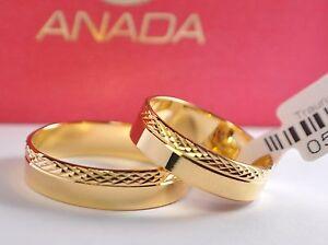 1 Paar Gold 333 Trauringe Eheringe Hochzeitsringe Mit Blitzendem Muster - B: 5mm Geschickte Herstellung