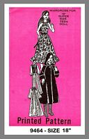 Vintage Super Size Teen Doll's Wardrobe Fabric Material Sewing Pattern 9464