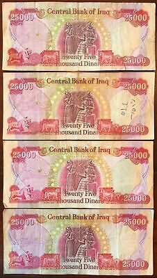 NEW IRAQ DINAR UNCIRCULATED BANKNOTES = 100,000 IQD 4 x 25,000 VERIFIED!
