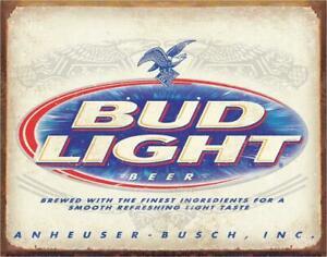 Budweiser Bud Light Retro Beer Anheuser Busch Bar Tin Metal Sign NEW Made USA