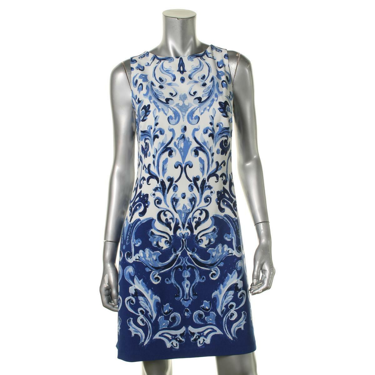 Lauren Ralph Lauren bluee White Printed A-Line Wear to Work Dress Sz 12