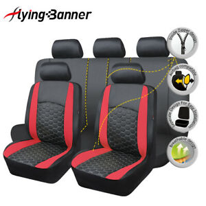 11PCS-Car-Seat-Covers-set-protectors-PU-Leather-Universal-washable-Red-grid