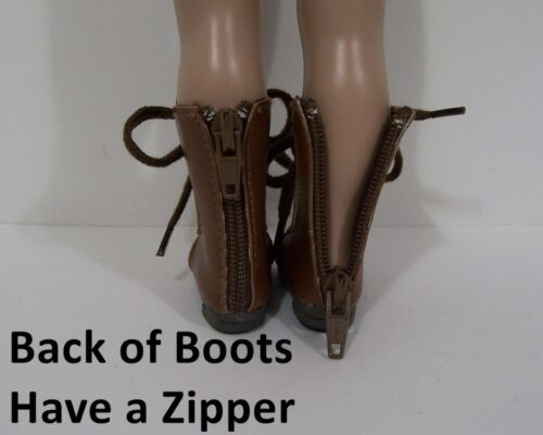 "BROWN LaceUp ZIPPER Boots Doll Shoes Fit 10/"" Ann Estelle Sophie Patsy Debs"
