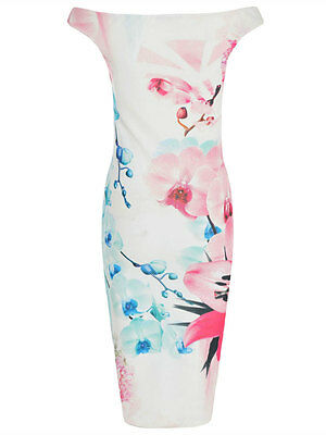 New Womens Ladies Celebrity Inspired Off Shoulder Body con  Midi dress Size 8-16