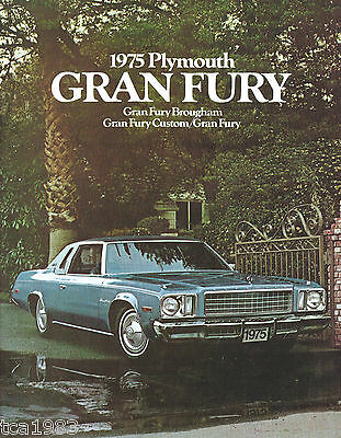 Catalog with Color Chart 1975 PLYMOUTH GRAN FURY Brochure BROUGHAM,CUSTOM,