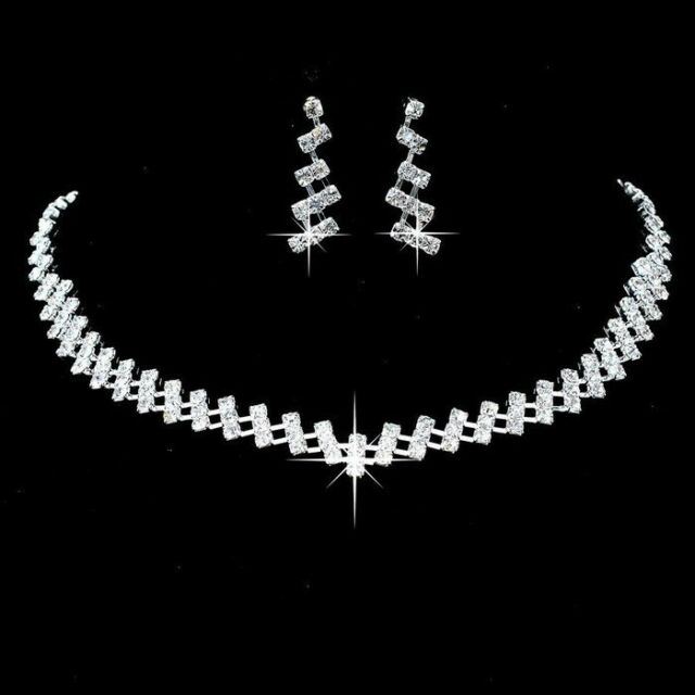 Alloy Silver Plated Rhinestone Necklace Earrings Bridal Wedding Jewelry Set